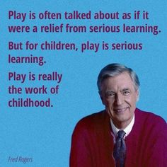 Play is often talked about as if it were a relief from serious learning. But for children, play is serious learning. Play is really the work of childhood. Learn more at http://www.kaytrotter.com/play-therapy/?utm_content=bufferc2f84&utm_medium=social&utm_source=pinterest.com&utm_campaign=buffer