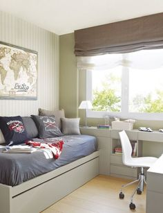 Bedroom with homework space...great idea with limited space.