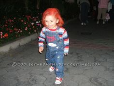 Our son was 2 and had no idea who we were dressing him up as , so before he would take control of Halloweens to come we had to have this Chucky costume. Halloween 2015, Halloween Costumes For Kids, Halloween Makeup, Good Guy Doll, Chucky Costume, Find A Babysitter, Fb Like, Homemade Costumes, Button Crafts