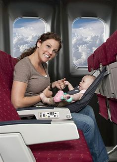 FlyeBaby Airplane Seat Child Comfort System- it's like a comfy little five point hammock for your little one when you're flying! This.Is.Awesome!