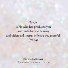 "Say, ""It is He who has produced you and made for you hearing and vision and hearts; little are you grateful."" (67:23)   Hope you're all having a good Ramadan in shaa Allāh"