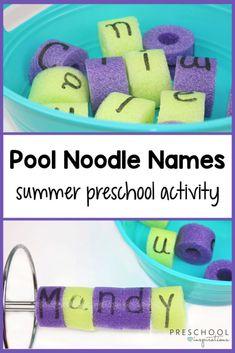 Preschool Name Recognition, Name Activities Preschool, Pool Activities, Indoor Activities For Kids, Kids Learning Activities, Toddler Activities, Preschool Alphabet, Montessori Activities, Learning Centers