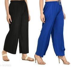 Checkout this latest Palazzos Product Name: *Gladly Women's Solid beautifull Pallazzos for women and Girls 2Pcs Combo* Fabric: Polyester Pattern: Textured Multipack: 2 Sizes:  28 (Waist Size: 28 in, Length Size: 37 in)  30 (Waist Size: 30 in, Length Size: 37 in)  32 (Waist Size: 32 in, Length Size: 37 in)  34 (Waist Size: 34 in, Length Size: 37 in)  36, 38 Easy Returns Available In Case Of Any Issue   Catalog Rating: ★4 (405)  Catalog Name: Fancy Fabulous Women Palazzos CatalogID_2330673 C79-SC1039 Code: 054-12178901-6711