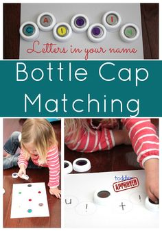 Bottle Cap Letter Matching Alphabet Activity (website has great ideas for letter & sight word recognition; can also modify for math concepts)