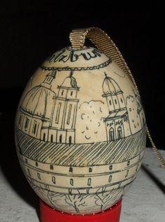 Wood Egg Pen Etched Salzburg Austria