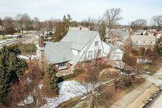 Arial shot of a Tudor Long Island NY Home at 131 Newmarket Road Garden City