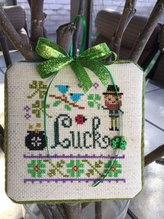 Completed Cross Stitch Lizzie Kate March Lucky Ornament | eBay