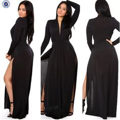 Plus Size Solid Double Slit Long Sleeve Maxi Dress | All Dressed