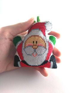 Santa Claus, Embroidered suspension, Christmas decorations. Handmade. Cross stitch, christmas ornament, Embroidery Santa, Santa cross stitch, christmas tree, holiday decor