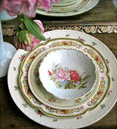 Vintage Mismatched China Floral Housewares by LemonRoseStudio, $41.00