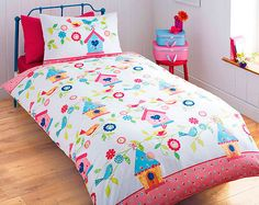 single size BIRDHOUSE birds flowers floral girls childrens pink duvet cover set
