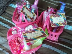 """a bridal shower hostess gift idea reading """"May your next """"shower"""" be as special as mine was"""" with shower products"""