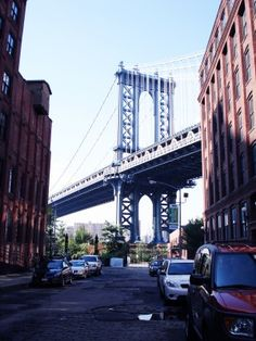 """""""Down Under the Manhattan Bridge Overpass,"""" DUMBO is a section of Brooklyn that takes in two neighborhoods - one between the Manhattan and Brooklyn Bridges, and another that continues east from the Manhattan Bridge to the Brooklyn neighborhood Vinegar Hill."""