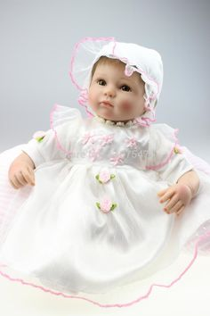 57.66$  Buy here - http://ali06n.worldwells.pw/go.php?t=32332653297 - 18 inches Lovely reborn dolls babies  Girl DOll Soft Silicone  Reborn Dolls Real Lifelike Handmade Toy Gift bonecas