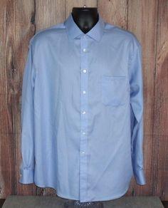 JOE Joseph Abboud Mens Long Sleeve Dress Shirt Sz 17 1/2 - 34/35 Blue Solid  #JosephAbboud