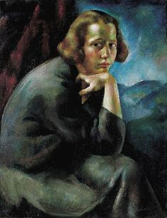 Nickers and Ink: Deployed to the void -- #poetry - Girl's Portrait (Thinker, Contemplation), By Erzsebet Korb, C1923, Vintage/public domain image