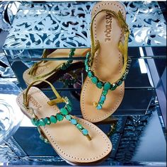 all that glitz www.shopmystique.com Mystique Sandals, Green Sandals, Types Of Women, Leather Sandals, Summer Time, Ali, Wedges, Pairs, My Style