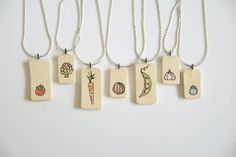 Items similar to Farmers Market Illustrated Ceramic Necklace (single vegetable) on Etsy Ceramic Necklace, Image Healthy Food, No Calorie Snacks, How To Cook Steak, Shop Window Displays, Health Eating, Dinners For Kids, Food Labels, Group Meals