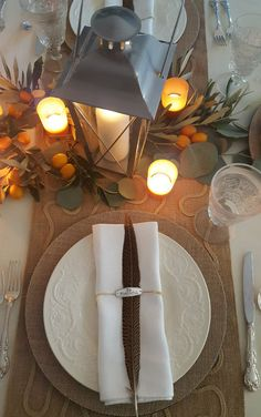 My thanksgiving table came together as easy as 1, 2,3,4,5! Five inspiring items created my dream tablescape for this Thanksgiving. I love the effect when the candles are lit!