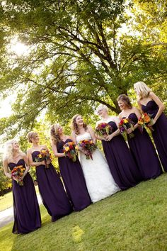 Vibrant wedding bouquets. Looks perfect with the eggplant dresses!