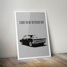 Supernatural Inspired Poster Print- Carry On My Wayward Son   Minimalist Poster   Wall Art   Car   Impala   Supernatural Decor   TV Show Art