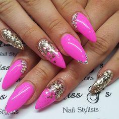 Pink gold glitter swarovski nails