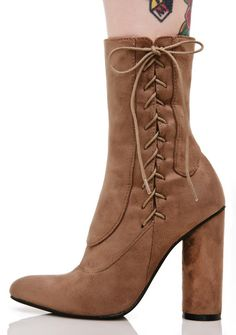 Bounty Lace-Up Boots cuz ya always get yer mark, bb~ These dope boots feature an ultra smooth light brown vegan suede construction, panel stitching, side lace-up details, block heel, and inner ankle zip closures.