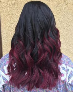 Burgundy Hair Color: Best Ideas of Maroon Hair (Trending in August hair color ideas for black hair - Hair Color Ideas Black Hair With Highlights, Dark Red Hair, Ombre Hair Color, Hair Color For Black Hair, Blonde Color, Cool Hair Color, Peekaboo Highlights, Black And Burgundy Hair, Brown Hair