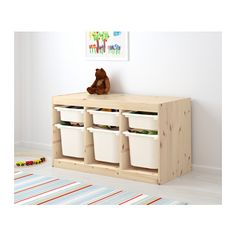 TROFAST Storage combination with boxes, pine light white stained pine, white pine white/white 37x17 3/8x20 1/2