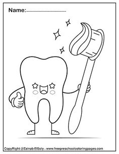 free Dental care cute kawaii coloring pages for kids, Dental care health and brushing chart for preschoolers Abc Coloring Pages, Preschool Coloring Pages, Free Printable Coloring Pages, Dental Care For Kids, Free Dental Care, Silikon Baby, Dental Health Month, Health Activities, Teaching The Alphabet