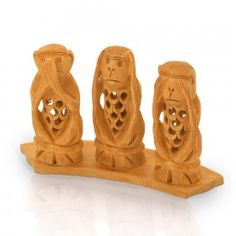 Gandhi Monkey Set Fine Carved Wood Handicraft -158