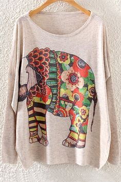 Colorful Elephant Print Long Sleeve Sweater OFF-WHITE: Sweaters | ZAFUL