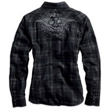 Womens Convertible Sleeve Double Layer Plaid Shirt | MotorClothes® Merchandise | Harley-Davidson USA