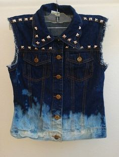 Women's Small Blue Studded and Bleached Denim Vest by WaistedYouth