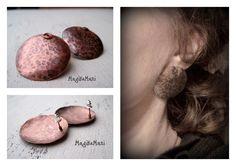 """Earrings """"One"""": copper"""