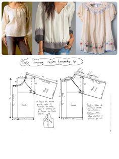 DIY - molde, corte e costura - Marlene Mukai Easy Sewing Patterns, Dress Making Patterns, Clothing Patterns, Blouse Patterns, Fashion Sewing, Diy Fashion, Sewing Hacks, Sewing Tutorials, Costura Fashion