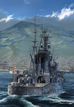World Of Warships Wallpaper, Airplane Painting, Navy Coast Guard, Heavy Cruiser, Imperial Japanese Navy, Ship Paintings, Ww2 Tanks, Sea Art, Submarines