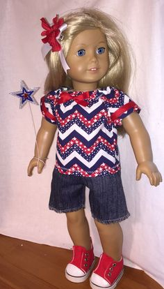 American Girl Doll Clothes 4 Pc 4th of July by MartisOneOfAKind