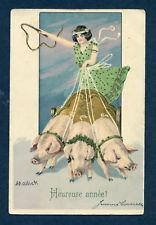 Y6915 Woman rides on three pigs postcard, Mailick,