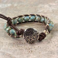 Western Bracelet Bohemian Jewelry Blue Beaded Bracelet Brown Wrap Bracelet Boho Jewelry Leather Jewelry Rustic Hippie Jewelry Mothers Day