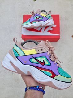 5cd8e557276a Custom Nike M2K Tekno - Nike Colours Custom Sneakers - Hand painted - Nike  Custom - M2K - Custom Shoes - Custom Made Sneakers