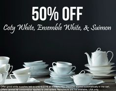 50% off selected white dinnerware this weekend! http://noritakechina.com/50-off-white-patterns-june-2016.html #noritake #dinnerware #white #tablescapes #sale
