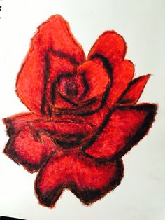 Oil Pastel red rose -jade lyman