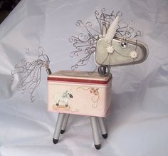 Found Object Robot Horse Pink Assemblage Art by SuzieBrowning