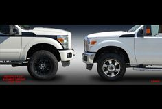 Leveling lift kit on left, wow, big difference also larger wheels & tires...