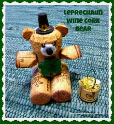 Follow these step by step instructions how to make a leprechaun wine cork bear for St. Patrick's Day. Quick tutorial from make it easy crafts