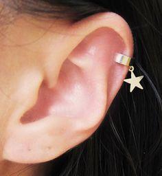 Brazalete de plata estrellas banda sólida oído