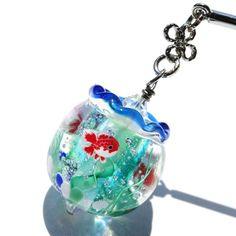 《金魚鉢》 かんざし ガラス とんぼ玉  金魚 浴衣