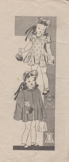 """RARE 1940's Girl's Dress and Cape Mail Order Pattern 9274 Size 6 Breast 24"""""""