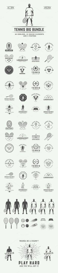 Vintage tennis emblems and elements.. Logo Templates. $19.00